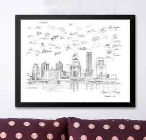 Louisville Wedding Alternative Guest Book, Louisville Skyline, Guestbook, Wedding Guestbook, Louisville, KY,  Louisville Wedding, Kentucky