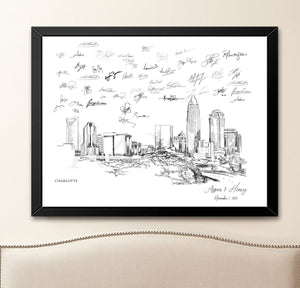 Charlotte, NC Wedding Alternative Guest Book, Charlotte Skyline, Guestbook, Wedding Guestbook, Charlotte Wedding, North Carolina