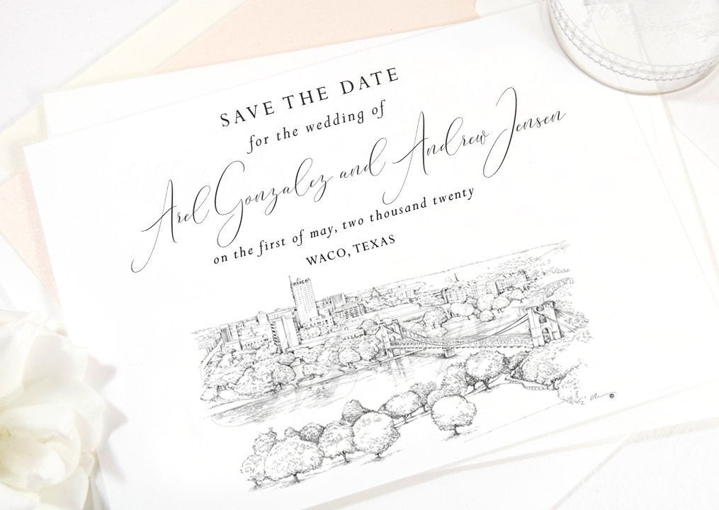 Waco, TX Save the Dates, STD, Wedding, Waco Skyline, Save the Date Cards, STD Cards, Texas (set of 25 cards)
