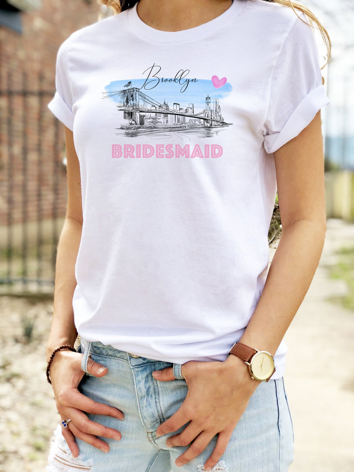 Brooklyn Bridge Bridesmaid Shirt, T-Shirt, New York Skyline, Wedding Shirt, Bride, Bridal Shower Gift, Bachelorette, Gift, Tee
