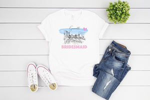 Greenville Bridesmaid Shirt, T-Shirt, Greenville, SC Skyline, Bride Tee, Wedding Shirt, Bride, Bridal Shower Gift, Bachelorette, Gift, Tee