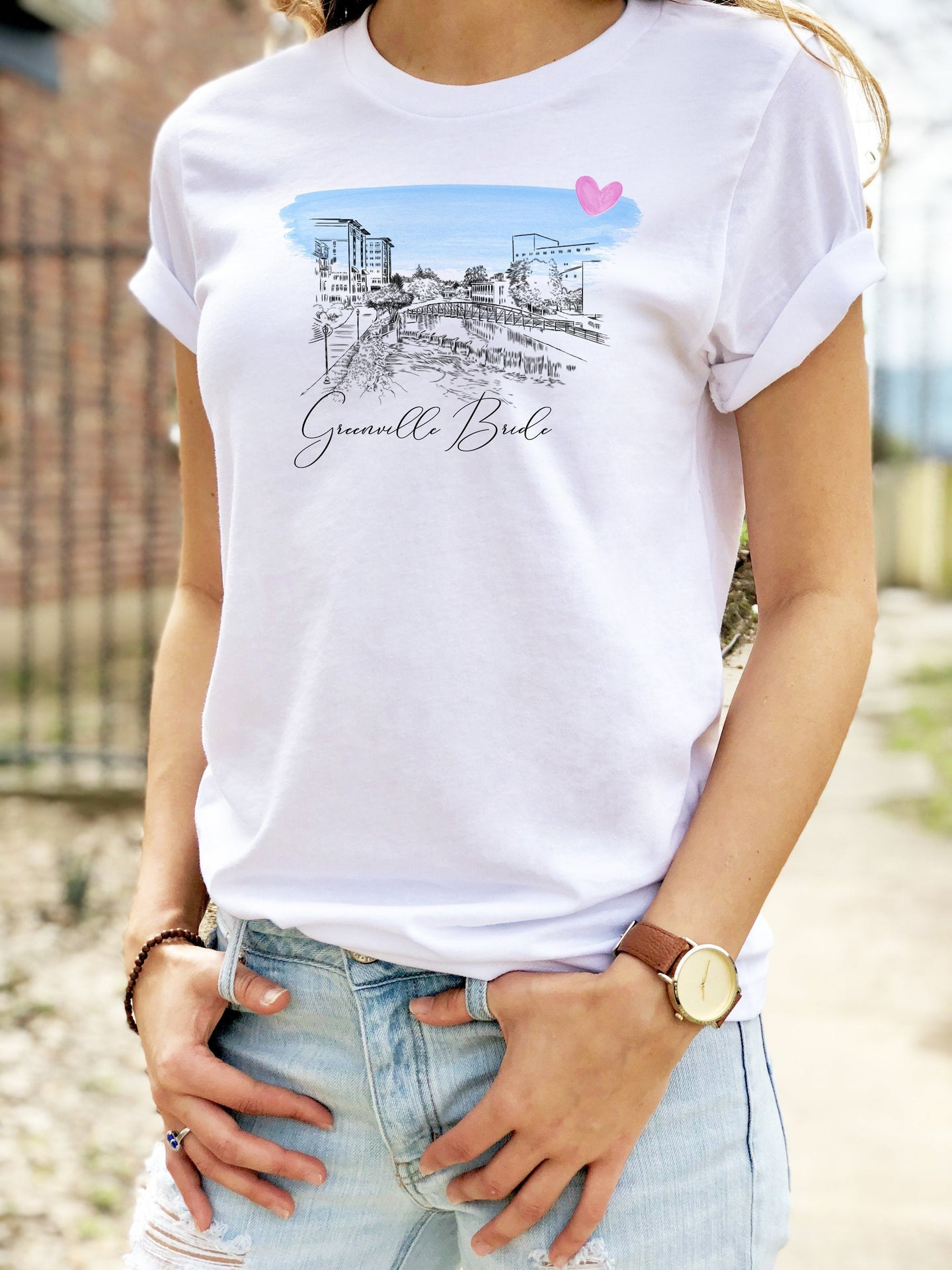 Greenville Bride Shirt, T-Shirt, Greenville, SC Skyline, Bride Tee, Wedding Shirt, Bride, Bridal Shower Gift, Bachelorette, Gift, Tee