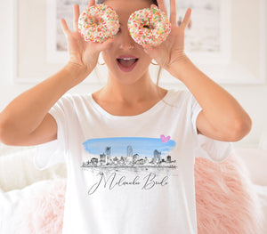 Milwaukee Bride Shirt, T-Shirt, Milwaukee, WI, Skyline, Bride Tee, Wedding Shirt, Bride, Bridal Shower Gift, Bachelorette, Gift