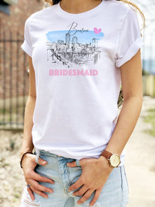 Boston Bridesmaid Shirt, T-Shirt, Boston, MA Water View Skyline, Bride Tee, Wedding Shirt, Bride, Bridal Shower Gift, Bachelorette, Gift