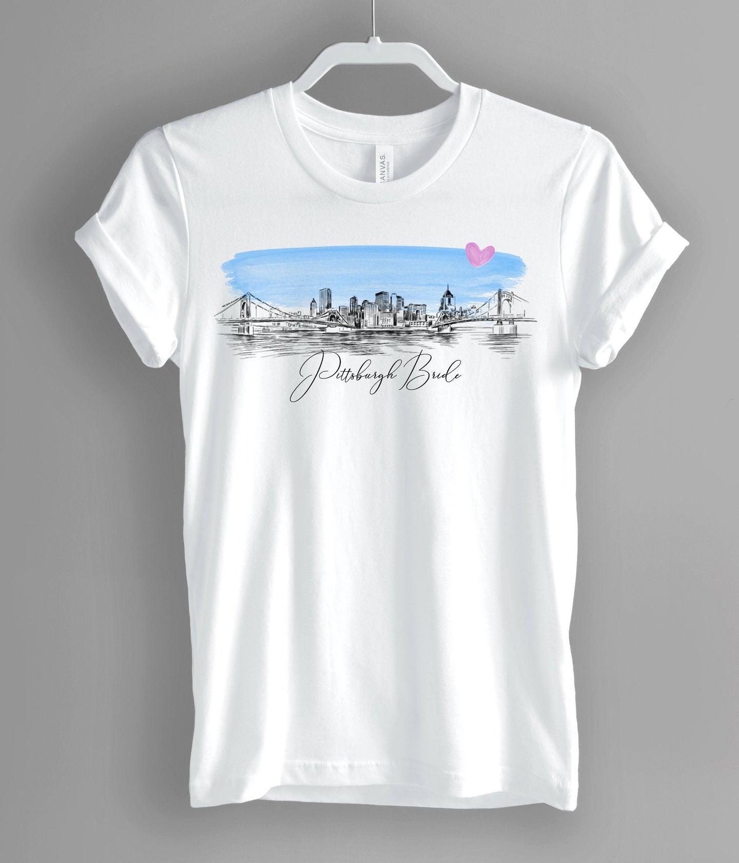 Pittsburgh Bride Shirt, T-Shirt, Pittsburgh, PA, Skyline, Bride Tee, Wedding Shirt, Bride, Bridal Shower Gift, Bachelorette, Gift