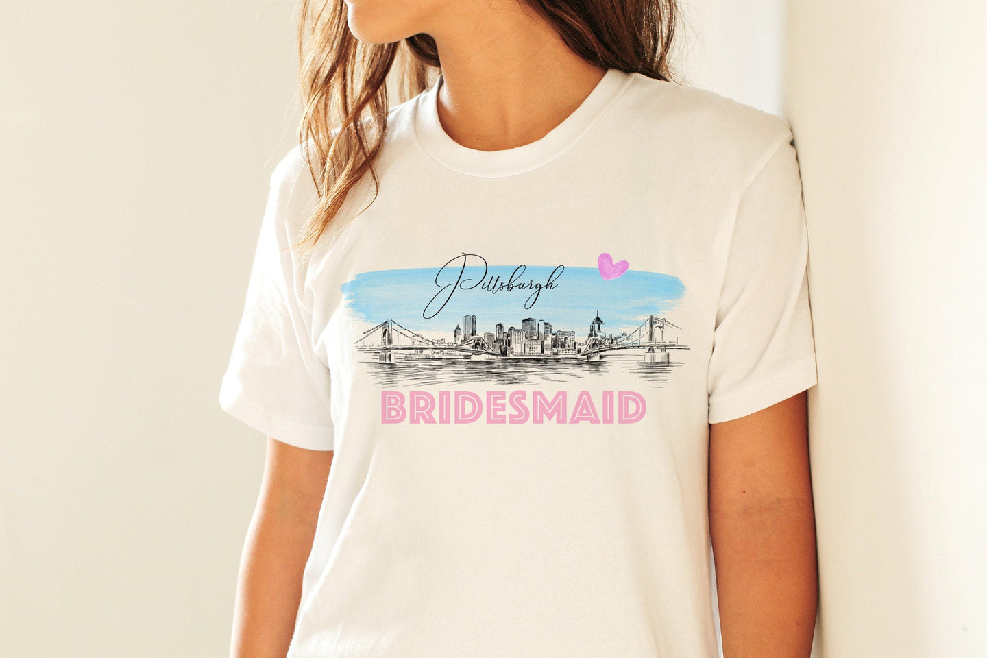 Pittsburgh Bridesmaid Shirt, T-Shirt, Pittsburgh, PA, Skyline, Bride Tee, Wedding Shirt, Bride, Bridal Shower Gift, Bachelorette, Gift