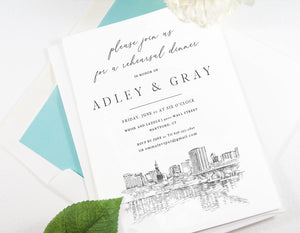 Hartford Skyline Rehearsal Dinner Invitations, Hartford, CT,  Skyline, Wedding, Weddings, Rehearse, Wedding Invite, Card (set of 25)
