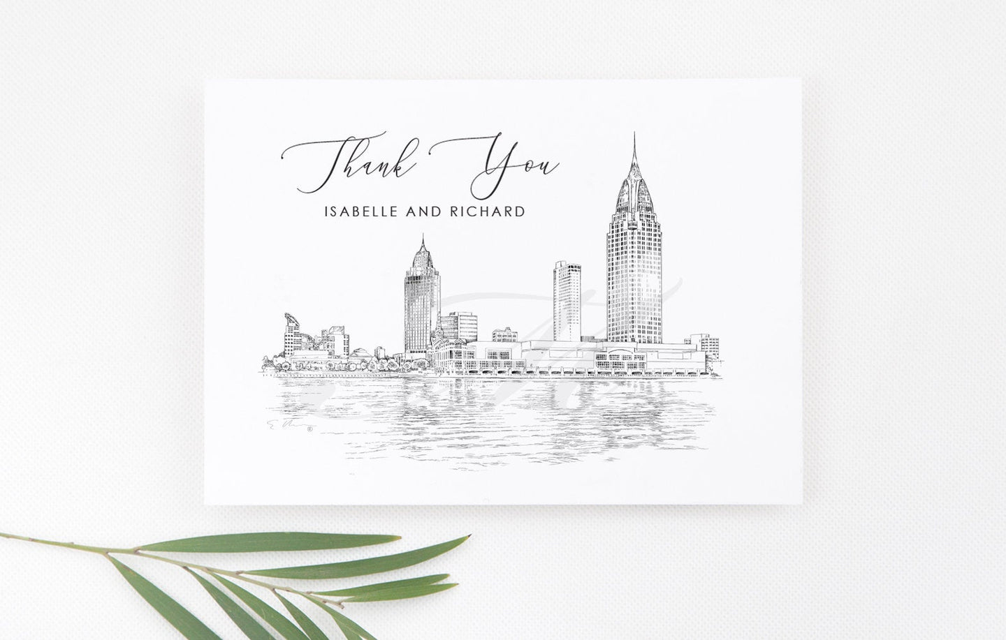 Mobile, AL Skyline Thank You Cards, Personal Note Cards, Bridal, Real Estate Agent, Corporate Thank you Cards, Alabama (set of 25 cards)