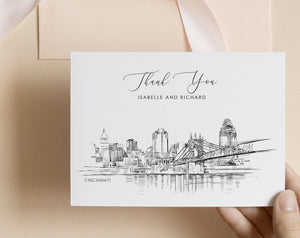 Cincinnati, OH Skyline Thank You Cards, Personal Note Cards, Bridal Shower, Real Estate Agent, Corporate Thank you Cards (set of 25 cards)