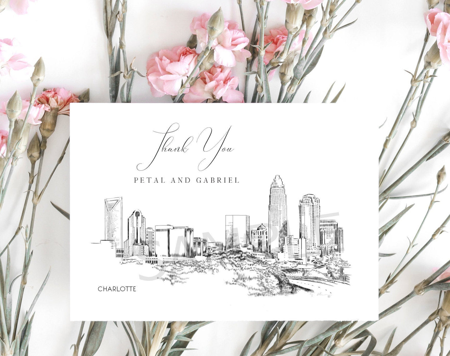 Charlotte, NC Skyline Thank You Cards, Personal Note Cards, Bridal Shower, Real Estate Agent, Corporate Thank you Cards (set of 25 cards)