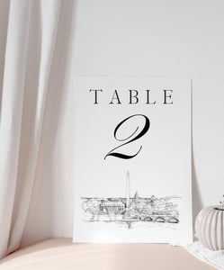 Washington, D.C. Memorials Skyline Table Numbers, Wedding Tables, Day of Event, Reserved Seating, Reception  (1-10)