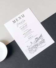 Load image into Gallery viewer, Cleveland, OH Skyline Menu Cards, Ohio, Wedding, Day of Event, Reception, Dinner Menus, Corporate Events, Parties (Sold in sets of 25)