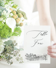Load image into Gallery viewer, Minneapolis Skyline Table Numbers, Minnesota, Wedding Tables, Day of Event, Reserved Seating, Reception  (1-10)