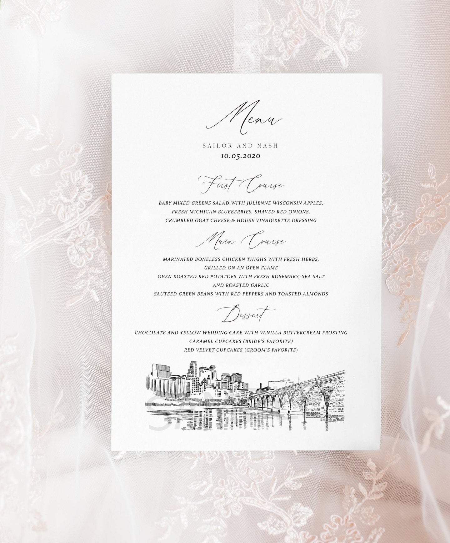 Minneapolis Skyline Menu Cards, Minnesota, Wedding, Day of Event, Reception, Dinner Menus, Corporate Events, Parties (Sold in sets of 25)