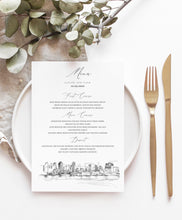 Load image into Gallery viewer, San Diego Skyline Menu Cards, Wedding, Day of Event, Reception, Dinner Menus, Corporate Events, Rehearsal Dinner (Sold in sets of 25)