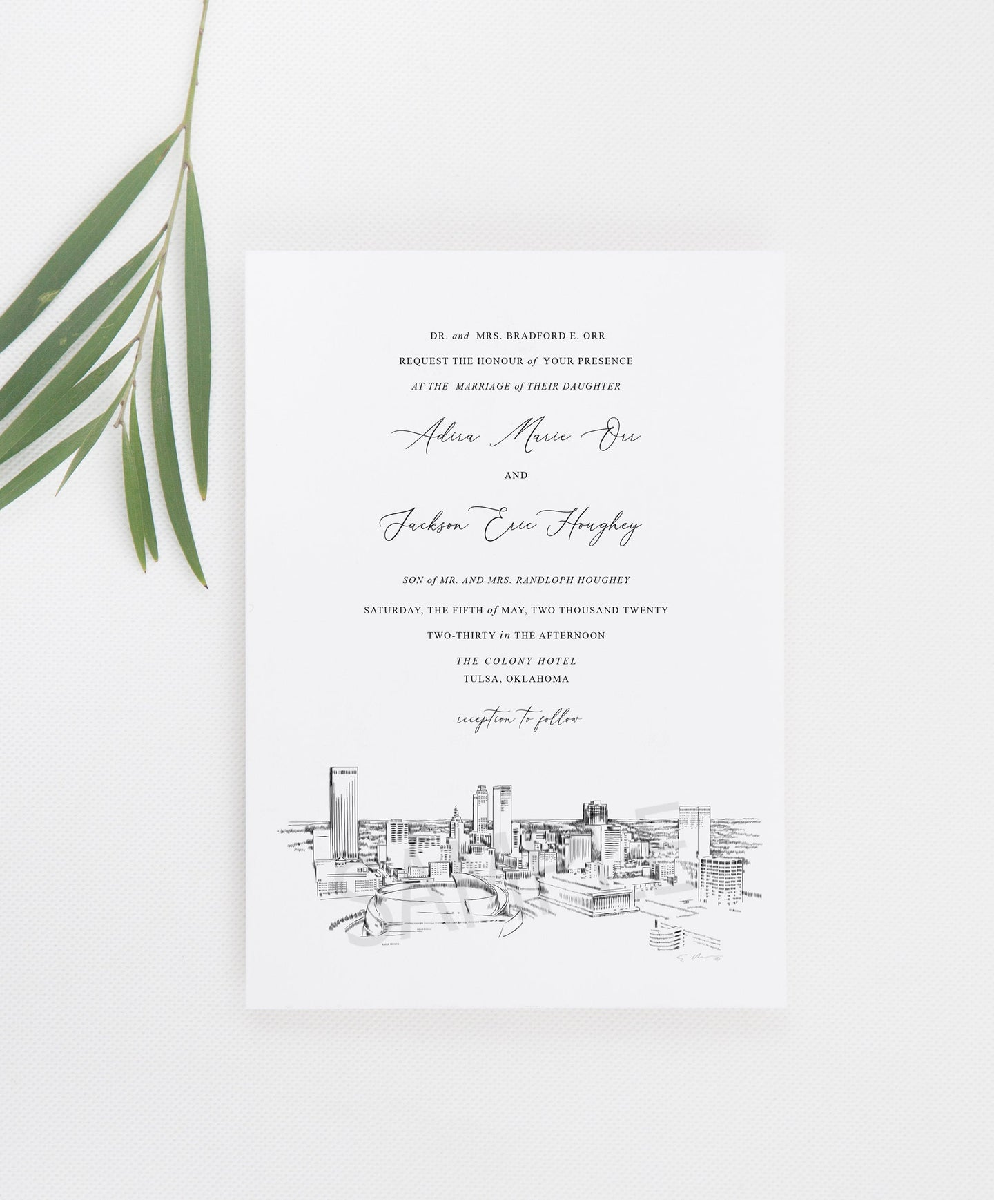 Tulsa, OK Skyline Wedding Invitation, Oklahoma Wedding, Tulsa Skyline Invite (Sold in Sets of 10 Invitations + Envelopes)