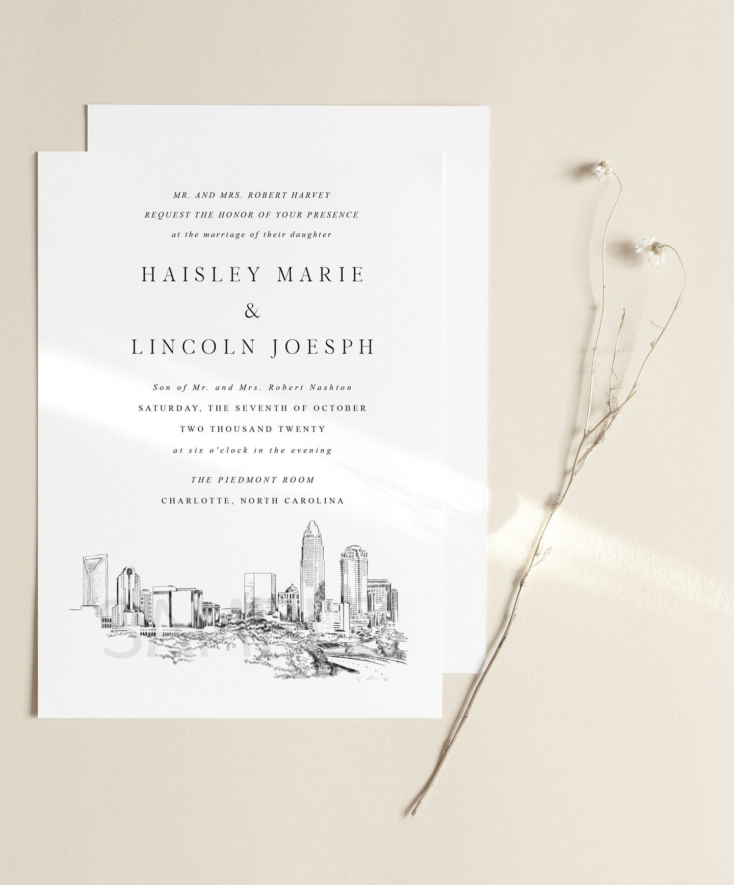 Charlotte, NC Skyline Wedding Invitation, North Carolina Wedding, Charlotte Skyline Invite (Sold in Sets of 10 Invitations + Envelopes)