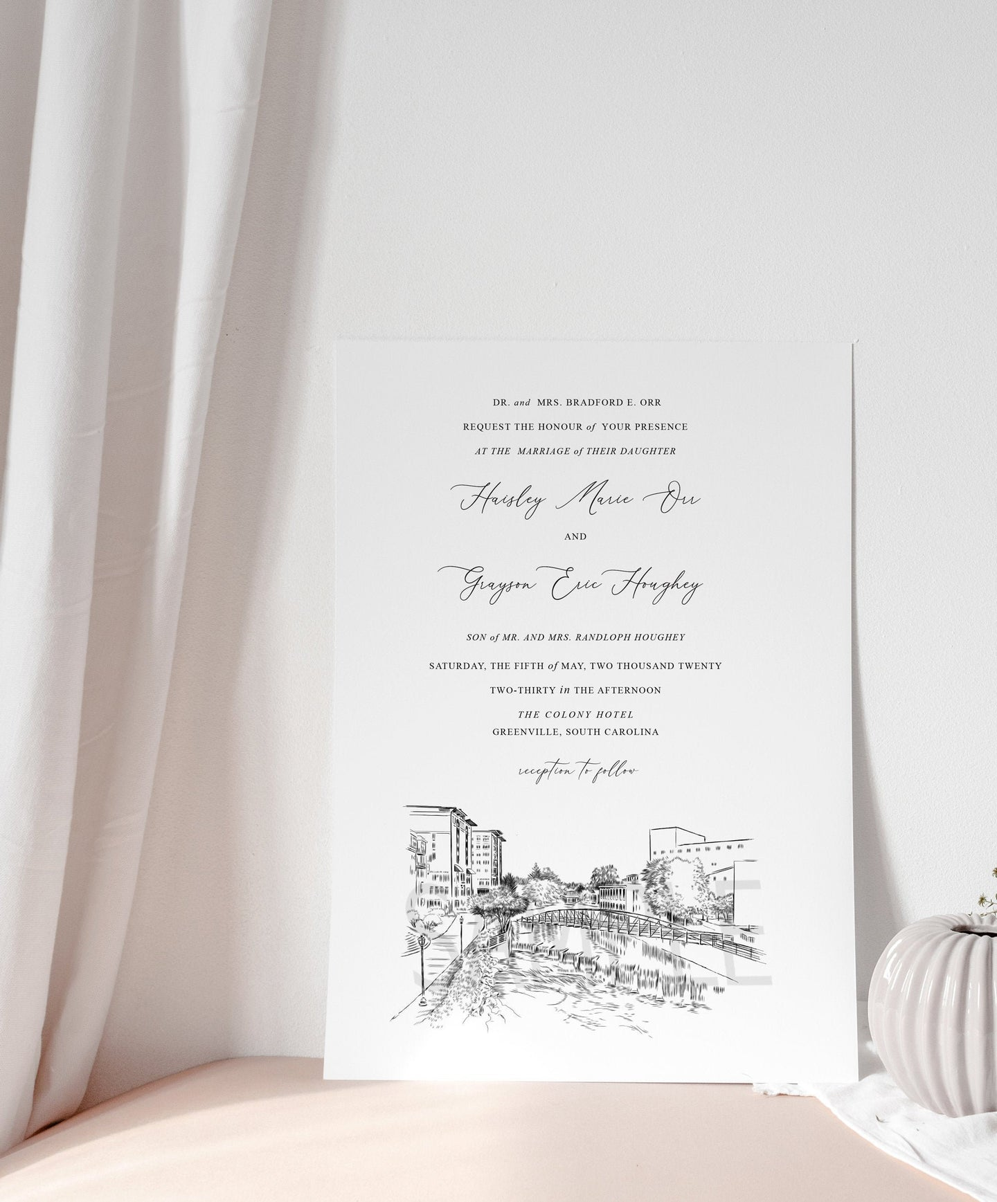 Greenville, SC Skyline Wedding Invitation, South Carolina Wedding, Greenville, SC Skyline Invite (Sold in Sets of 10 Invitations + Env's)