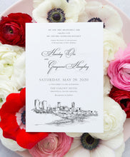 Load image into Gallery viewer, Ft Worth, TX Skyline Wedding Invitation, Fort Worth Wedding, Texas Skyline Invite, Weddings (Sold in Sets of 10 Invitations + Env's)