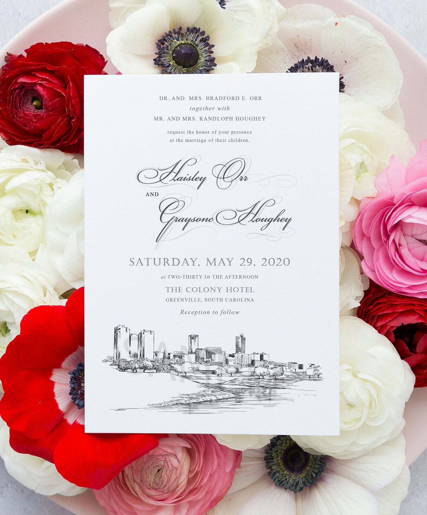 Ft Worth, TX Skyline Wedding Invitation, Fort Worth Wedding, Texas Skyline Invite, Weddings (Sold in Sets of 10 Invitations + Env's)