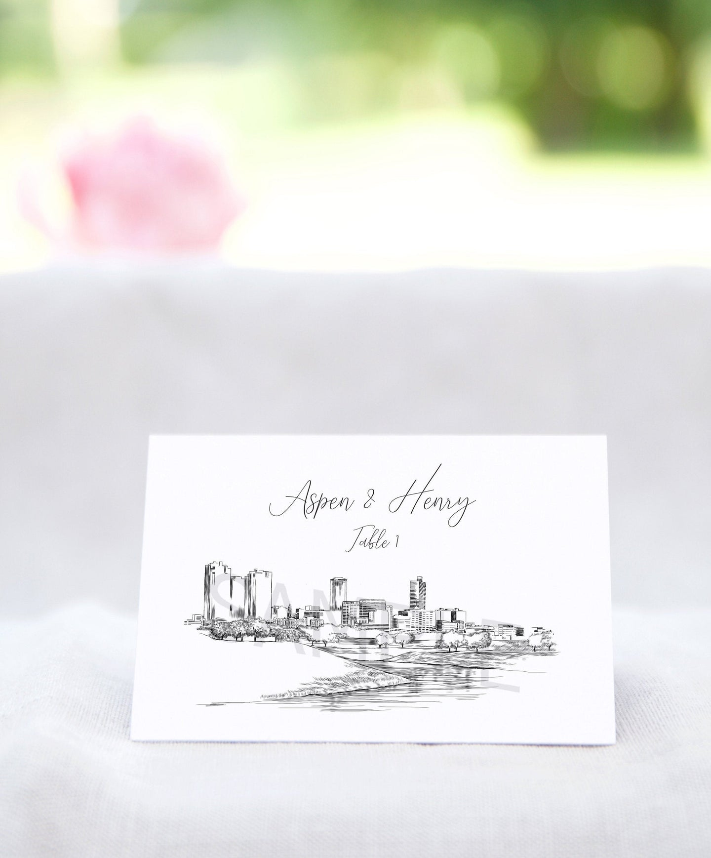 Ft Worth Place Cards Personalized with Guests Names, Placecards, Fort Worth, Texas, Escort Cards, Day of Event (Sold in sets of 25 Cards)