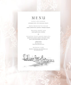 Ft Worth, TX Skyline Menu Cards, Wedding, Day of Event, Reception, Dinner Menus, Corporate Events, Rehearsal Dinner (Sold in sets of 25)