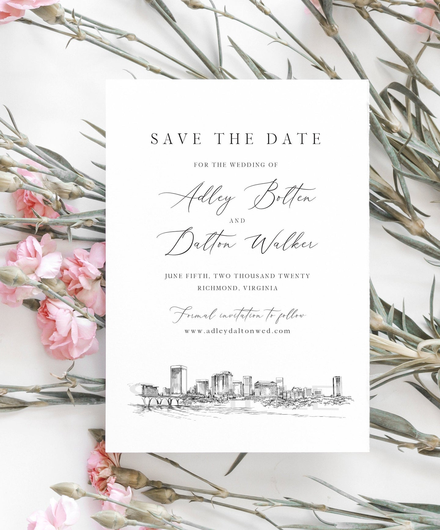 Richmond, VA Save the Dates, STD, Wedding, Richmond Skyline, Virginia, Save the Date Cards, STD Card, Save our date (set of 25 cards)