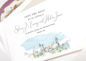 Atlanta Bridge View Save the Date Cards, Wedding Save the Dates, Walking Dead Bridge, STD, Atlanta Wedding (set of 25 cards and envelopes)