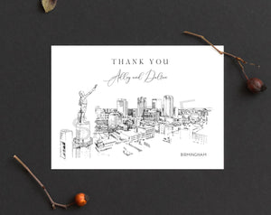 Birmingham, AL Skyline Thank You Cards, Personal Note Cards, Bridal Shower, Real Estate Agent, Corporate Thank you Cards (set of 25 cards)