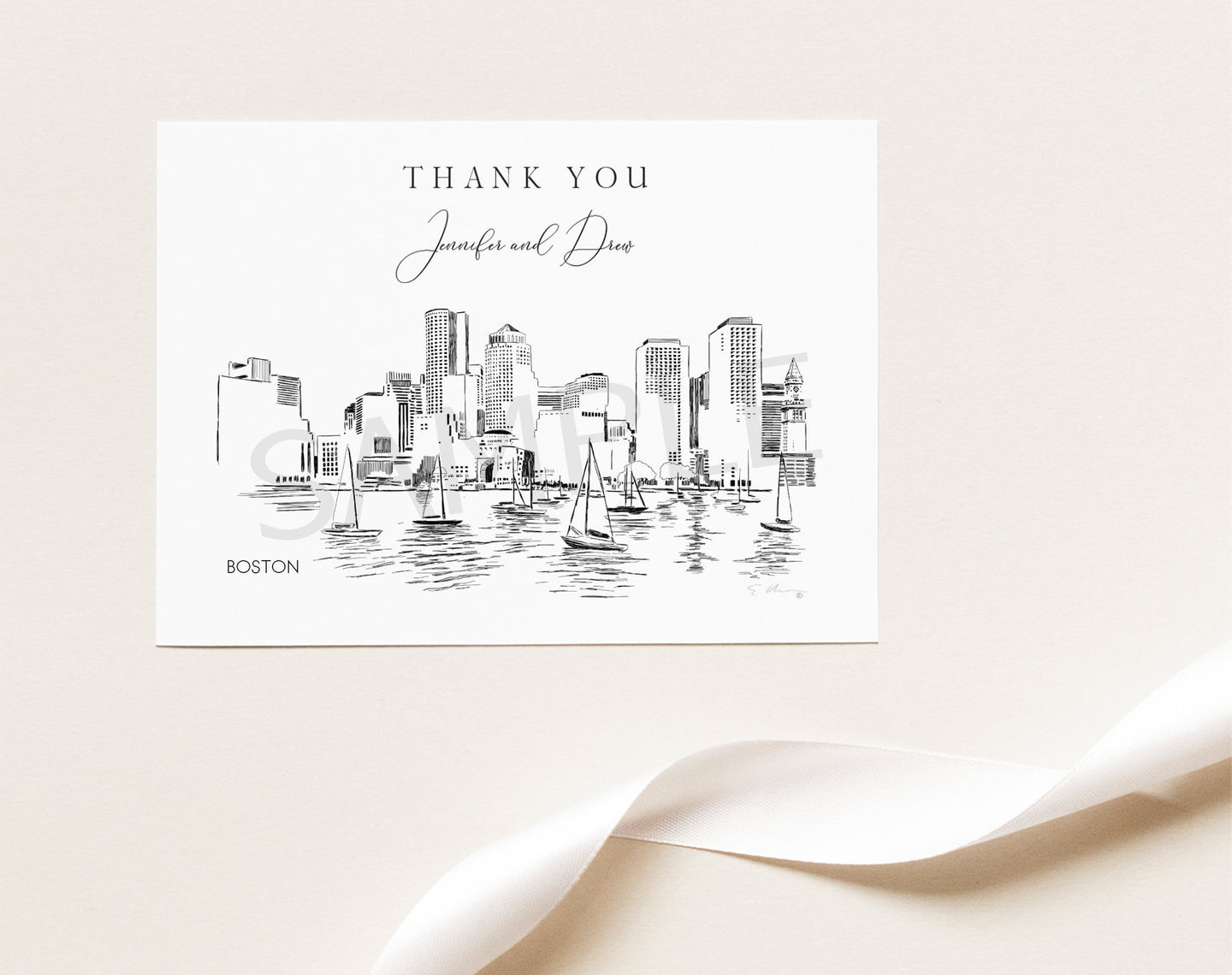 Boston Skyline Thank You Cards, Personal Note Cards, Bridal Shower, Real Estate Agent, Corporate Thank you Cards (set of 25 cards)