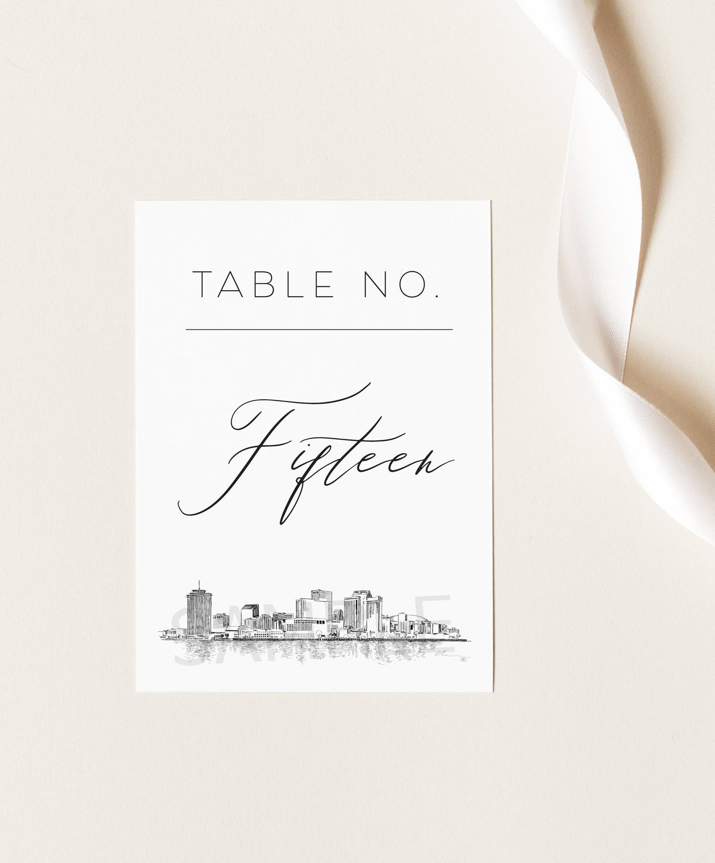 New Orleans Skyline Table Numbers (1-10), Louisiana Wedding, Table Numbers, Skyline, Reception, Day of Event, Reserved Seating
