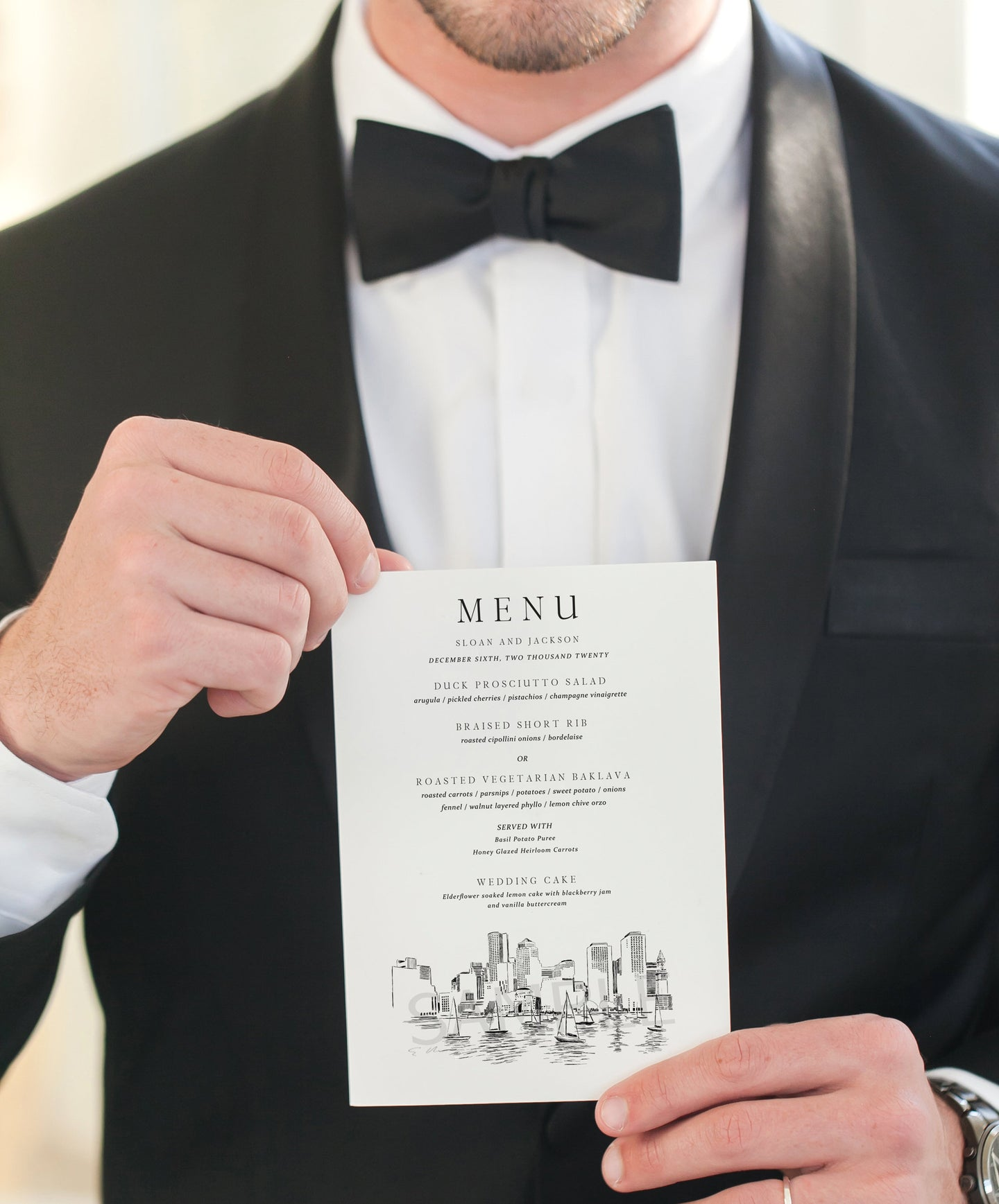 Boston Skyline Menu Cards, Wedding, Day of Event, Reception, Dinner Menus, Corporate Events, Rehearsal Dinner (Sold in sets of 25)