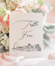 Load image into Gallery viewer, St. Louis Skyline Wedding Table Numbers (1-10), Saint Louis Wedding Table Numbers, Missouri, Day of Event, Reception, Rehearsal Dinner