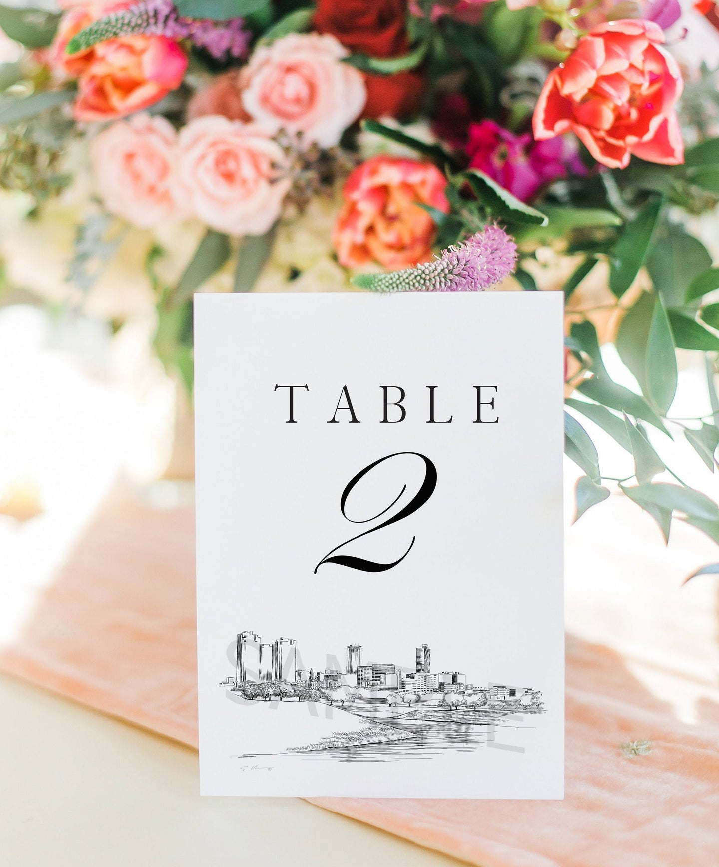 Ft Worth, TX Skyline Table Numbers, Texas, Wedding Tables, Day of Event, Reserved Seating, Reception  (1-10)