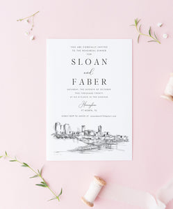 Ft Worth, TX Rehearsal Dinner Invitations, Ft Worth Skyline, Fort Worth Texas Wedding, Weddings, Rehearse, Invite (set of 25 cards)