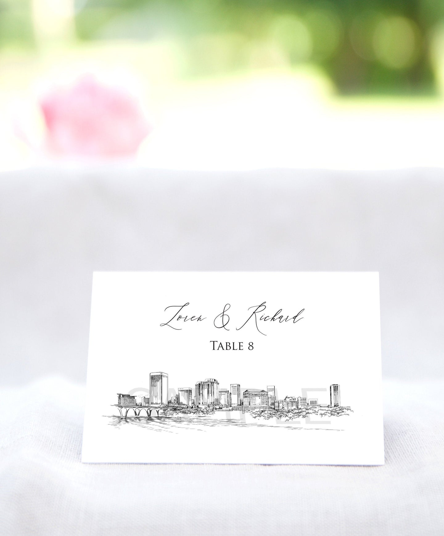 Richmond, VA  Place Cards Personalized with Guests Names, Placecards, Virginia, Escort Cards, Day of Event (Sold in sets of 25 Cards)