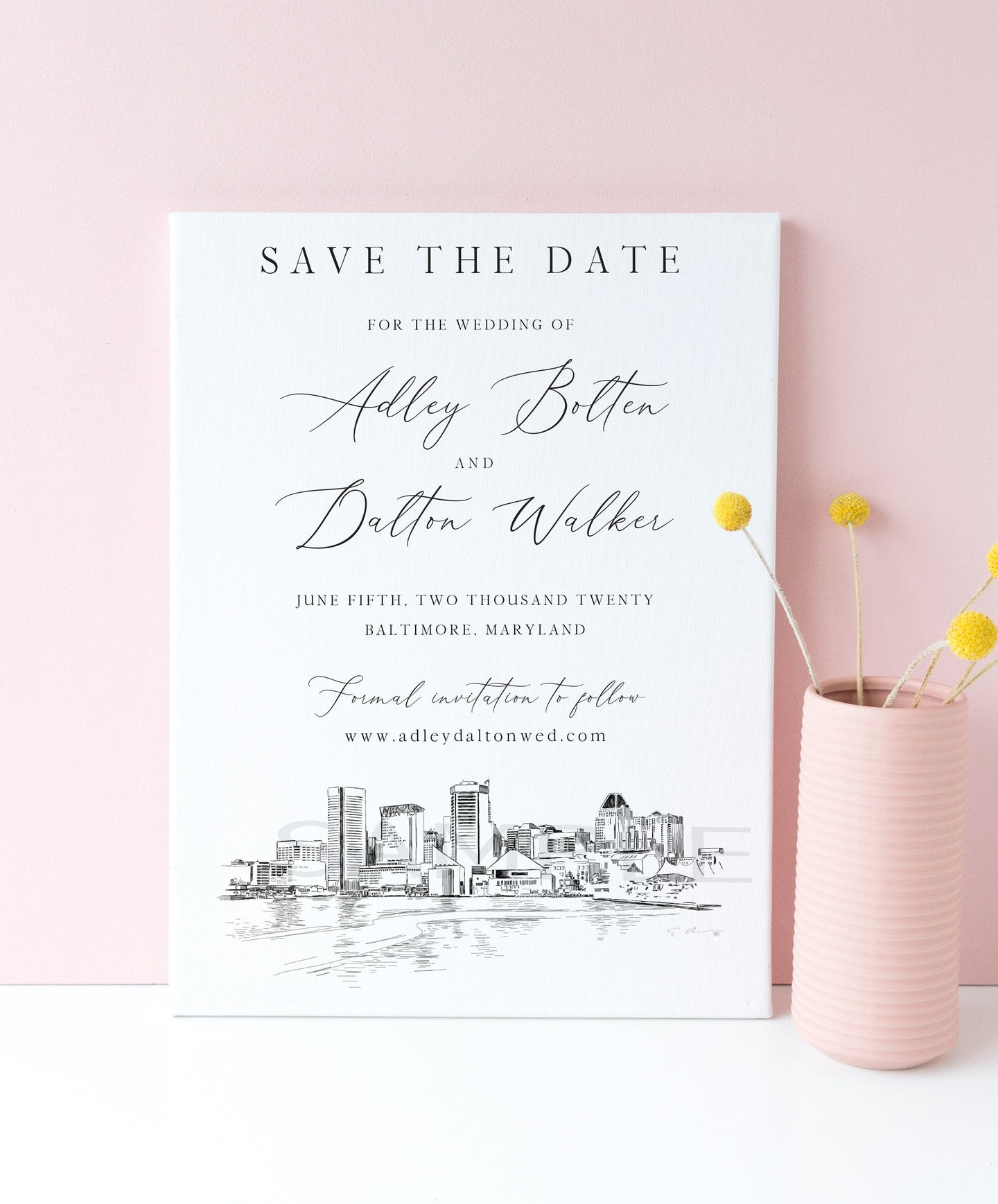 Baltimore Skyline Save the Date Cards, Save the Dates, STD, Baltimore, MD, Wedding, Weddings (set of 25 cards)