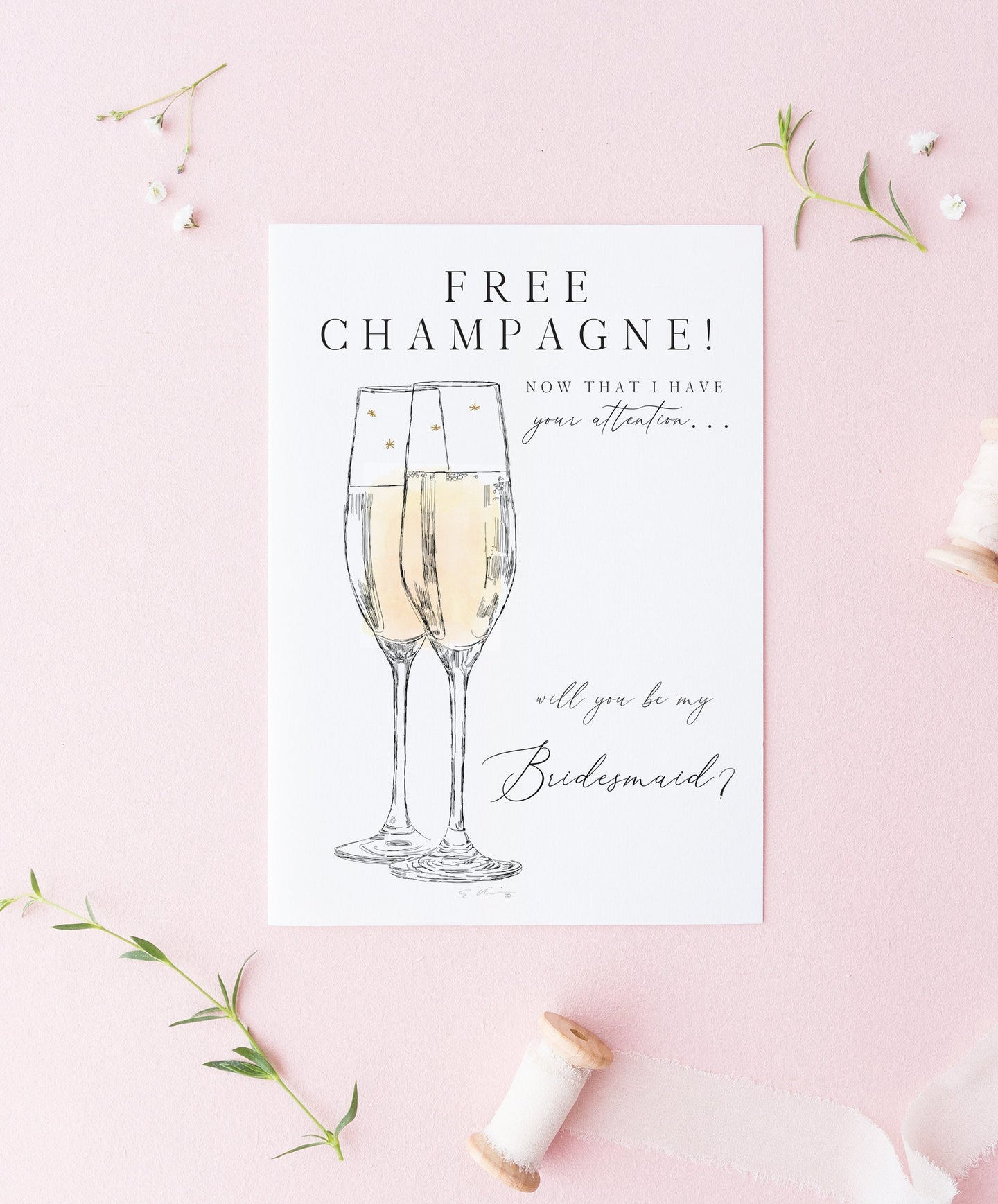 Be My Bridesmaid Card, Bridesmaid Proposal, Bridal Party Cards, Maid of Honor Card - Free Champagne - Matron of Honor Card