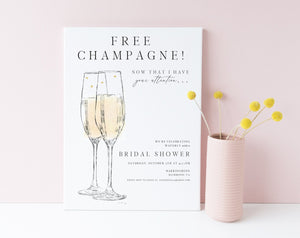 Bridal Shower Invitations, Free Champagne, Invite, Wedding, Bridal Brunch, Bridal Luncheon, Bubbly Invite, Unique, bridal shower, invitation