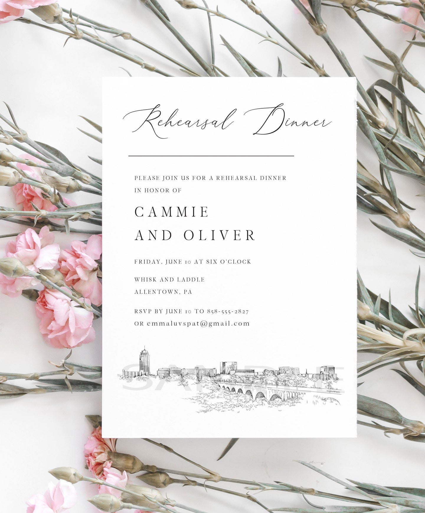 Rehearsal Dinner Invitations Allentown, PA, Pennsylvania, wedding, pa wedding, Weddings, Rehearse, Invite (set of 25 cards)