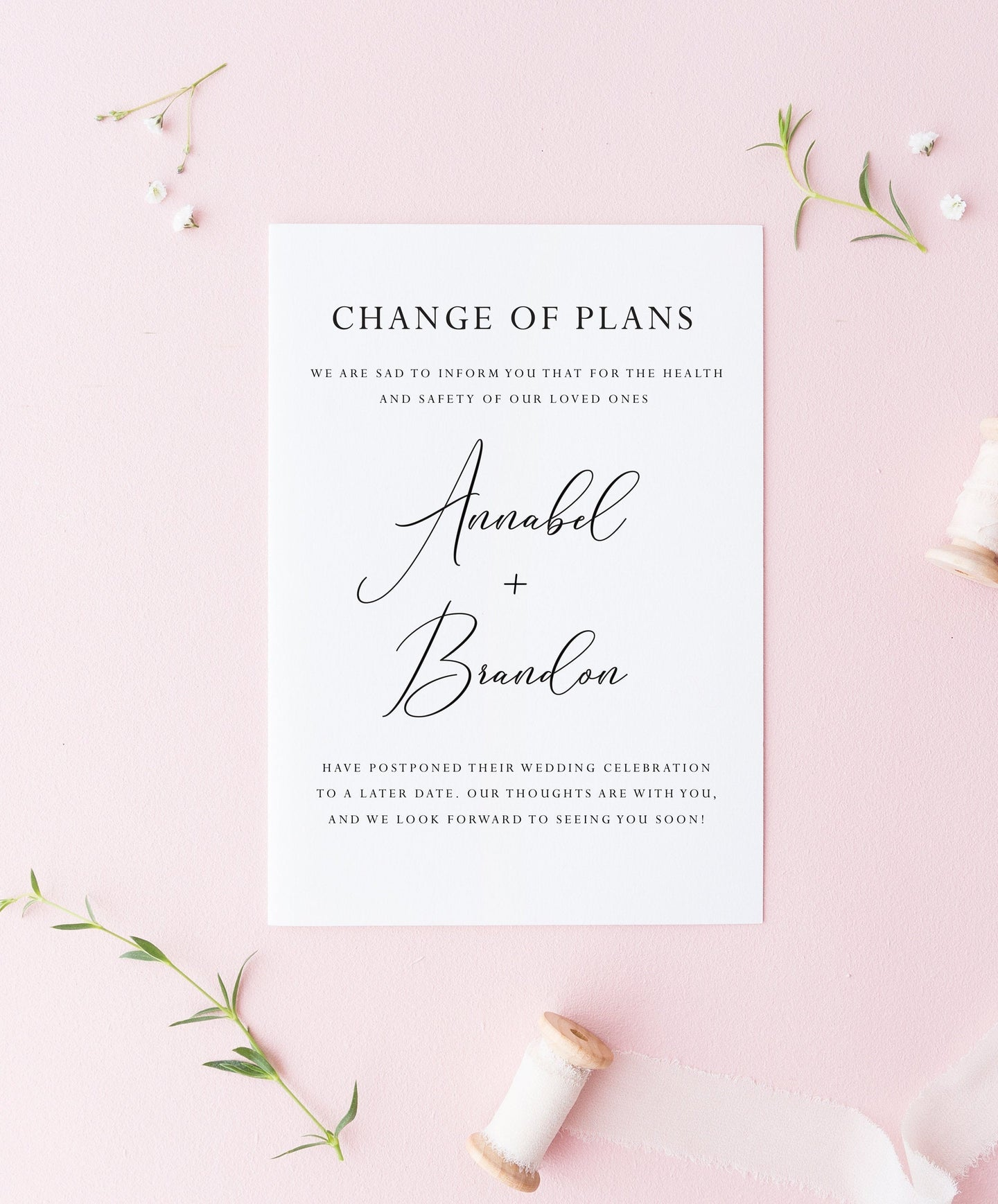 Change of Plans, New Wedding Date, Wedding Postponement, Announcement, Postponed, Reschedule, Wedding Delay, Rehearsal Dinner (set of 25)