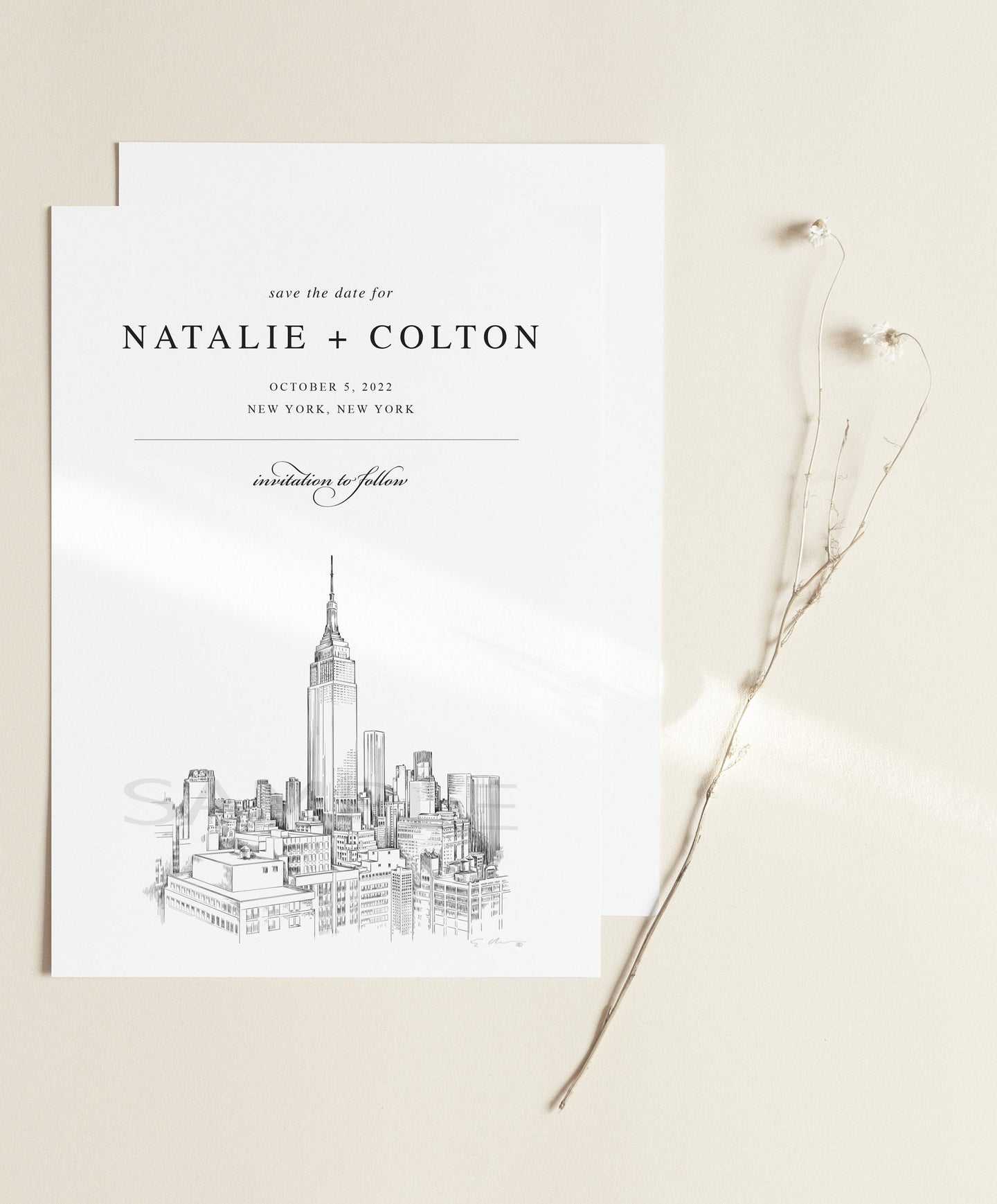 New York City Skyline Save the Date Cards, Wedding Save the Dates, Alabama, NYC, STD, NY Wedding (set of 25 cards and envelopes)