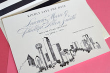 Load image into Gallery viewer, Dallas Skyline Hand Drawn Save the Date Cards (set of 25 cards)