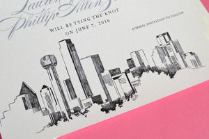 Dallas Skyline Hand Drawn Save the Date Cards (set of 25 cards)