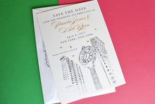 Load image into Gallery viewer, NYC 5th Ave Clock Skyline Starry Night Hand Drawn Save the Date Cards (set of 25 cards)