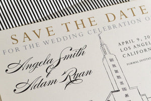 Los Angeles Mormon Temple Skyline Hand Drawn LDS Save the Date Cards (set of 25 cards)