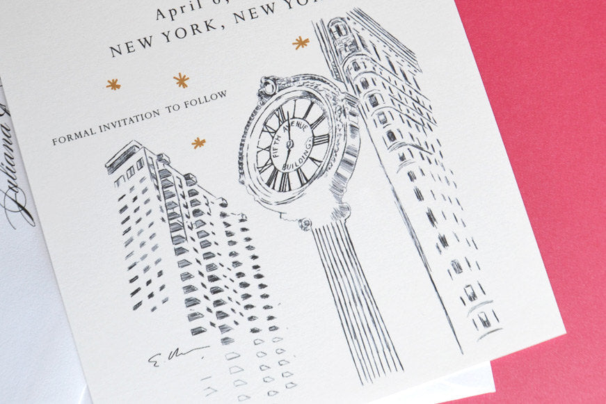 NYC 5th Ave Clock Skyline Starry Night Hand Drawn Save the Date Cards (set of 25 cards)