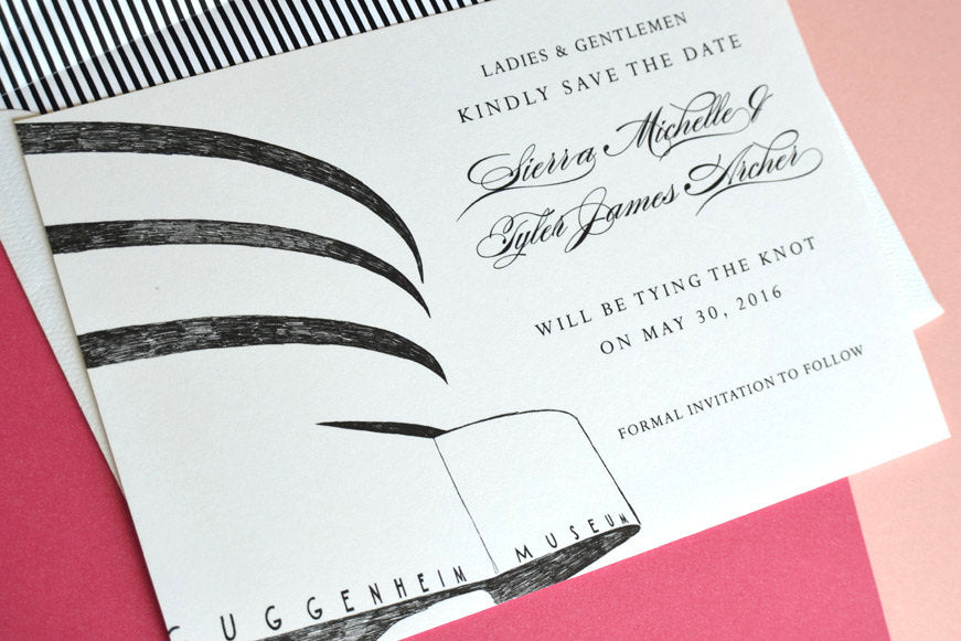 New York City Guggenheim Museum Wedding Save the Date Cards, Save the Dates NYC (set of 25 cards)
