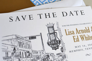 Memphis, Tennesse Skyline Save the Date Cards -  Beale Street (set of 25 cards)