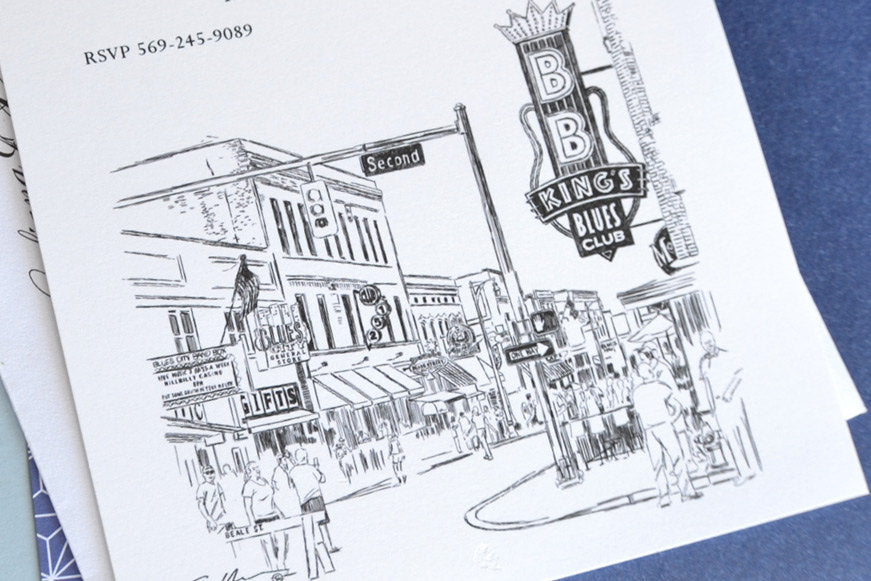 Memphis, Tennessee at Beale Street Skyline Hand Drawn Rehearsal Dinner Invitations (set of 25 cards)